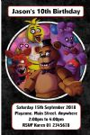 Personalised Five Nights at Freddys Invitations